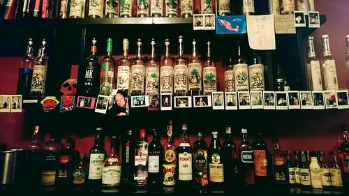 El Destilado's back bar