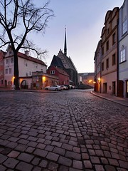 Old Catholic Church (safris76) Tags: wintertime window whitefacade walkway tree travel sunset street stone state square sidewalk roof romance religious public pavement pardubice oldtown old night lowlight longexposure light lamp church chimney historicalbuilding glass geometric europe dirt darkness czech clouds city catholic carsparked cars bluehour blue architecture