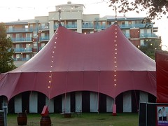 Apartments and Tent (mikecogh) Tags: adelaide fringe festival goud gardenofunearthlydelights 2017 tent venue apartments permanent temporary contrast