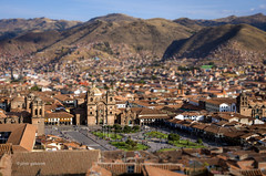 Cusco Tilt Shift Experiment (pietkagab) Tags: cusco peru inca plazadearmas brown city hills panorama panoramic square church towers roofs skyline colonial architecture southamerica oldtown pietkagab photography piotrgaborek pentax pentaxk5ii travel trip tourism sightseeing unesco evening light valley cityscape