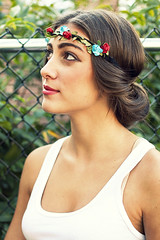 Ally (Hey_Lee! Photography) Tags: summer portrait white flower girl leaves fence outside photography spring model ally pretty tank top chain link brunette headband headdress 2013 heylee heyleephotography