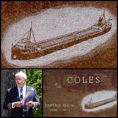 The captain who designed his own tombstone (yooperann) Tags: park red lake history monument cemetery illustration frank boat ship tour walk michigan tombstone great center william upper e captain marble peninsula ore marquette regional coles yooper taplin