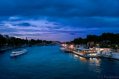 Evening Along The Seine (spanjavan) Tags: cruise sky paris france reflection night clouds river boat cafe ledefrance dusk eiffel vr