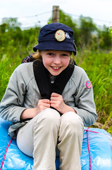All set for Camp (Marty Woodcock) Tags: park camping camp portrait canada nature smile children photoshoot can guide saskatchewan guides aislyn girlguides bedroll