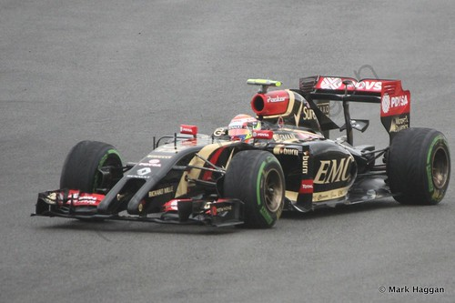 Pastor Maldonado in his Lotus during qualifying for the 2014 British Grand Prix