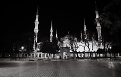 Blue Mosque (ronet) Tags: bw film night turkey nightscape pentax istanbul scanned bluemosque pentaxmesuper ilforddelta100 homedeveloped