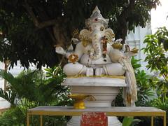 Hindu elephant headed god Ganpati in this wat in CM (oldandsolo) Tags: thailand southeastasia buddhism ganesh chiangmai wat hinduism highstreet buddhisttemple hindureligion ganpati norththailand buddhistshrine buddhistreligion watsrisuphan chiangmaistreet buddhistfaith hinduelephantheadedgod silverubosot chiangmaitraffic downtownchiangmai