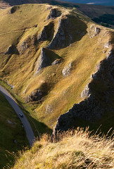 Winnats Pass (Keartona) Tags: road uk light summer england english car landscape evening britain district derbyshire pass peak hills limestone grasses crags castleton winnats