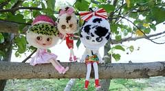 Three little Yarnheads sitting on a tree......