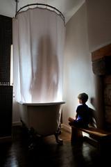 Behind the Curtain (MrHRdg) Tags: tower castle silhouette bathroom shower scotland borders selkirk showercurtain windowlight masterbathroom clawfootbath aikwoodtower