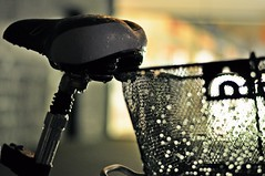 # 39 - bicycle in the rain... (Eggii) Tags: light night bokeh bicycles rainy manufaktura nikkor50mm18 nikond90 eggii the100bicyclesproject placemanufakturaoflodz