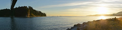 Lions Gate Bridge 2014 (Gord McKenna) Tags: ocean bridge sunset panorama canada english beach vancouver bay highway gate bc stitch pacific pano north engineering columbia civil lions inlet british burrard gord gravel mckenna gordmckenna