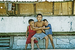 Embrace me... (carf) Tags: poverty boys children community child play philippines poor forsakenpeople social manila shanty forsakenplaces playful survival slum filipinos aroma atrisk happyland atriskchildren ulingan newsmokeymountain forasaken