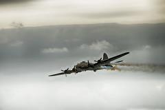 Smokin Fortress (Churchy123) Tags: flying force aviation air airshow b17 fortress bournemouth 8th propellor 2014 sallyb soke