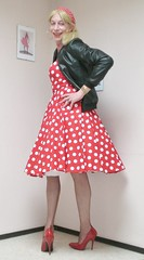 Leather jacket and polka dots. (sabine57) Tags: stockings drag tv highheels cd crossdressing tgirl transgender polkadots tranny transvestite crossdresser crossdress petticoat nylons travestie transvestism seamedstockings