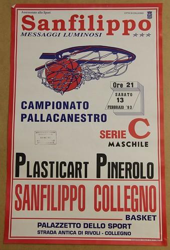 Manifesto Collegno Basket vs. Pinerolo - Serie C Maschile