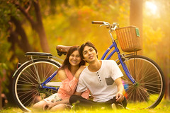 Couple (Patrick Foto ;)) Tags: life park sunset summer two people woman sunlight holiday man male green love nature girl beautiful grass smiling fashion bike bicycle female asian fun thailand outdoors happy cycling spring couple pretty day sitting adult natural bangkok background joy young lifestyle happiness romance fresh relationship enjoy thai romantic concept activity relaxation sunbeam