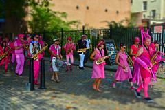 Music and colour...... (Dafydd Penguin) Tags: street city uk pink england colour public bristol 50mm nikon artist harbour britain f14 centre group performance band floating jazz marching af nikkor ambling d600