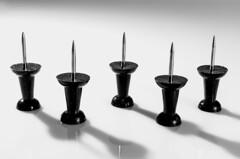Five Board Pins (Graham'M) Tags: macro challenge blackandwhite monochrome boardpins noticeboardpins closeup tabletop push pins