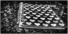 Day 76. (lizzieisdizzy) Tags: book note paper card design heart bright geometric spiral binding blackandwhite whiteandblack mono whiteblack blackwhite monochrome monotone chromatic square oblong ringbinding surface flat marble table top tatty