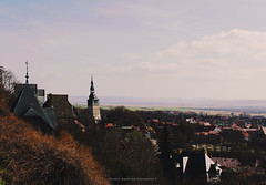 IMG_7835 (MelanieRobertsonPhotography) Tags: germany hometown color colorphotography white black green yellow blue sky church leaningtower city cityscape houses