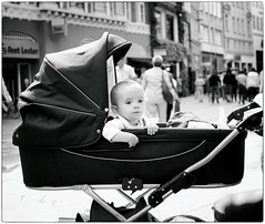 Baby On Board (Steve Lundqvist) Tags: baby child kid bw street streetphotography snap shot candid copenhagen denmark danimarca bambino childhood pram carriage buggy pushchair nikon 50mm f14