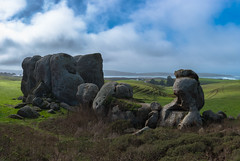 Ancient Rocks (ben_leash (Back May 15th)) Tags: blue landscape farmland rocks rockformation cloud clouds cloudy sky green marincounty marin california northerncalifornia