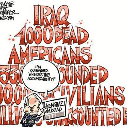 Bush stated a fails war in Iraq & over 4000 solder died .100s of thousand Iraqi. Trillions of $$$ Wasted .Shot time memories or denial?@syed 32701 Hippocrates       This all Bush Screwed up.when Saddam was there there was no Terrorist in Iraq.
