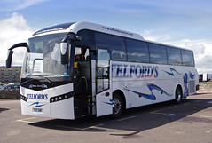 Telford's Coaches of Newcastleton, Jonckheere SG12ABE at St Andrews West Sands, 5th June 2014 (andyflyer) Tags: jonckheere telfordscoaches telfordscoachesofcarlisle sg12abe