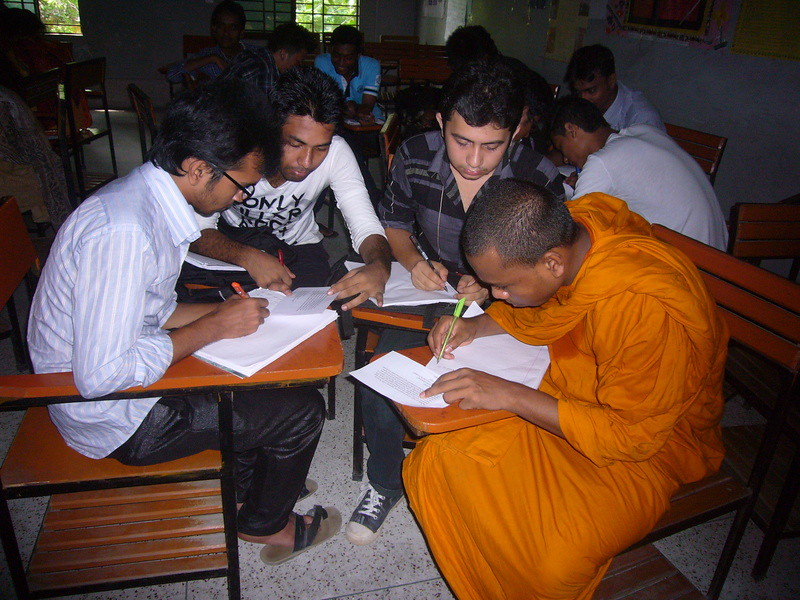 Orientation students during an interactive reading experience, Premier  University DELL, Chittagong, Bangladesh, May 2014