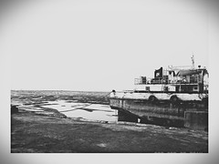 beach (ymankame) Tags: old sea sky blackandwhite abstract black beach water vintage boat grunge seaface