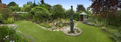 Panorama of the garden. (Rich Saunders) Tags: flowers trees plants grass garden botanical design pond gardening landscaping path lawn pebbles foliage paths waterfeature botany bushes horticulture hertfordshire flowerbeds richsaunders