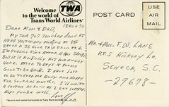 reverse of TWA 707 postcard Aug 1970 (SSAVE w/ over 5 MILLION views THX) Tags: postcard 1970 twa airliner boeing707 transworldairlines
