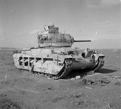 JAN 21 1942 Rommel's surprise attack in the Desert. A British Matilda tank in the Western Desert, recaptured from the Germans who had used it against the British in Bardia, 3 January 1942.