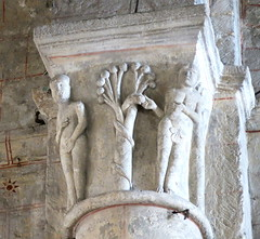Eve takes the apple from the serpent's mouth as Adam hides his privates (easily): A choir capital, the Church of Notre-Dame, Chauvigny, France (Hunky Punk) Tags: eve france adam apple stone churches carving medieval notredame serpent romanesque middleages vienne capitals choirs chauvigny hunkypunk spencermeans