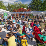 Busy Charlotte Square Gardens at the 2014 Edinburgh International Book Festival