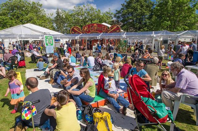 Busy Charlotte Square Gardens at the 2014 Edinburgh International Book Festival