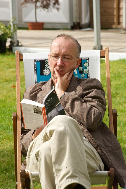 Reading in a deckchair
