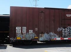 NEXT (R.I.P), WORM (YardJock) Tags: railroad graffiti spraypaint boxcar freighttrain nekst benching paintedsteel benchreport