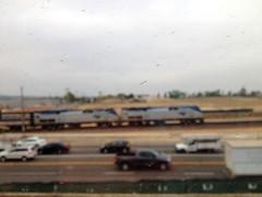 Amtrak Southwest Chief #3 (hupspring) Tags: railroad window train blurry diesel engine dirty outoffocus amtrak locomotive southerncalifornia orangecounty passengertrain southwestchief amtk bnsfsanbernardinosub