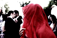 Veiled portrait (occhiobliquo) Tags: wedding red portrait woman earings backlight hands veiled veil transparency mariage