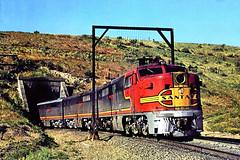 AT&SF Alco PA-1 #57 with the San Francisco Chief, Tehachapi, Ca.  May '65 (Hiawatha 6 aka High Iron) Tags: california railroad usa santafe train locomotive tehachapi atsf pa1 sanfranciscochief