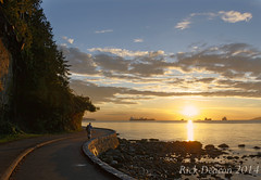 Long Walk Home (Rick Deacon) Tags: sunset summer canada vancouver clouds shadows dusk britishcolumbia wideangle bluesky seawall stanleypark summerevening goldenhour stanleyparkseawall beautifulbritishcolumbia luminositymask photoblending canonefs18135