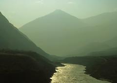 River Below (Fahim Akhter) Tags: road pakistan sunset sunlight mountain mountains green river highway roadtrip rockymountain sunbeam gilgit chillas astore highmountain
