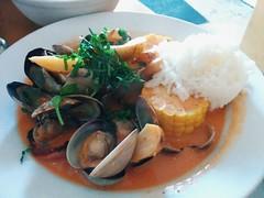 Clams Caribea (harroclarice) Tags: dinner tomato potatoes corn rice coconut clams broth kielbasi