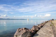 Lake Balaton 2014 - 2 (Romeodesign) Tags: summer sky lake beach water clouds reflections coast boat hungary sailing balaton sailship 550d zamardi