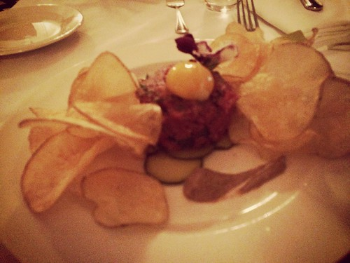 """Beef tartare with coconut oil potato chips. <a style=""""margin-left:10px; font-size:0.8em;"""" href=""""http://www.flickr.com/photos/118228725@N06/15336192622/"""" target=""""_blank"""">@flickr</a>"""