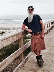 The Sea Otter (Cowboy Tommy) Tags: ocean bear hairy hot sexy beach beard goatee furry utilikilt kilt boots manly shade stache atlanticocean rugged fireisland cherrygrove facefur beardporn