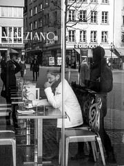 The Thinker (SibretManu) Tags: streetphotography luxembourg portrait street black white bw noir et blanc monochrome candid going moments decisive moment creative commons flickr flickriver explore eyed eye scene strassenfotografie fotografie city square squareformat photography bwartaward