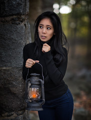 Anthia - playing scared. (QuarryClimber) Tags: woman female brunette browneyes pretty beautiful westquincymassachusetts lyonsturningmill quincyquarries abandoned oldmill urban face eyes hair cute scare playful bluegranite